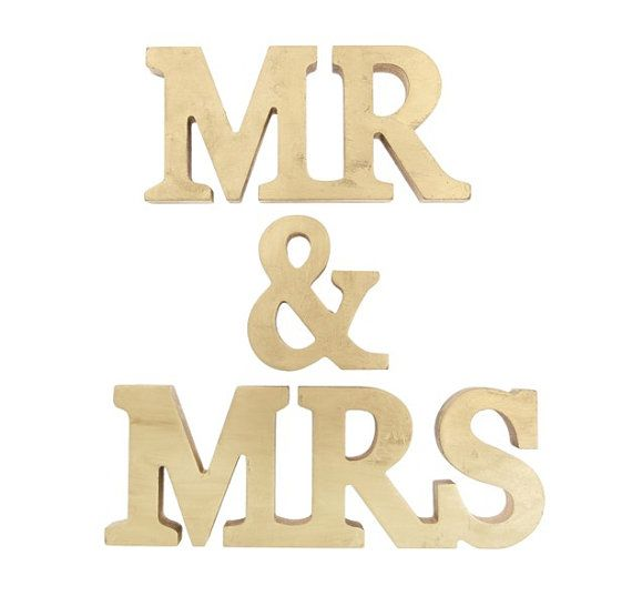 Wedding - Mr And Mrs Stand Up Wooden Letters, Mr & Mrs Letter GOLD ...