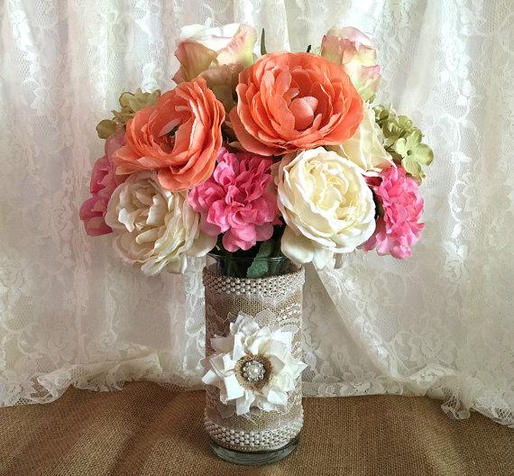 Burlap And Lace Covered Glass Vase Wedding Decoration Bridal