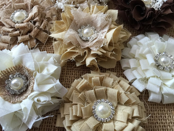 Wedding - 7 shabby chic flowers, brown, beige, ivory colors.