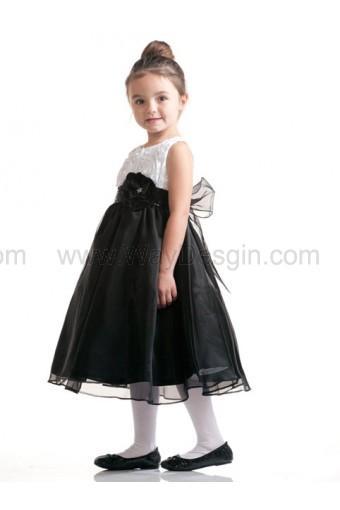 Wedding - White Ribboned Taffeta Top with Black Organza Skirt