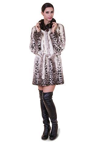 Mariage - Faux pattern fox fur with dark brown mink fur collar women middle coat