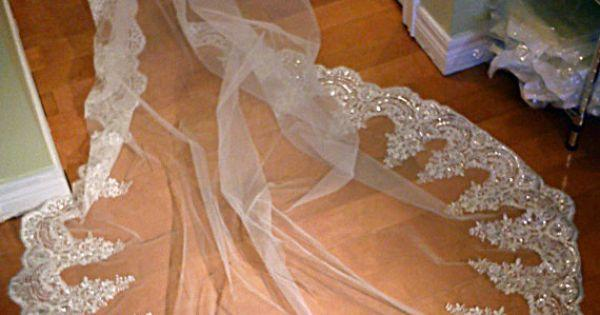 Hochzeit - Lace Cathedral Veil, Drop Veil, Cathedral Veil, Alencon Lace Veil, Wedding Veil, Bridal Veil, Mantilla Veil, Beaded Lace Veil