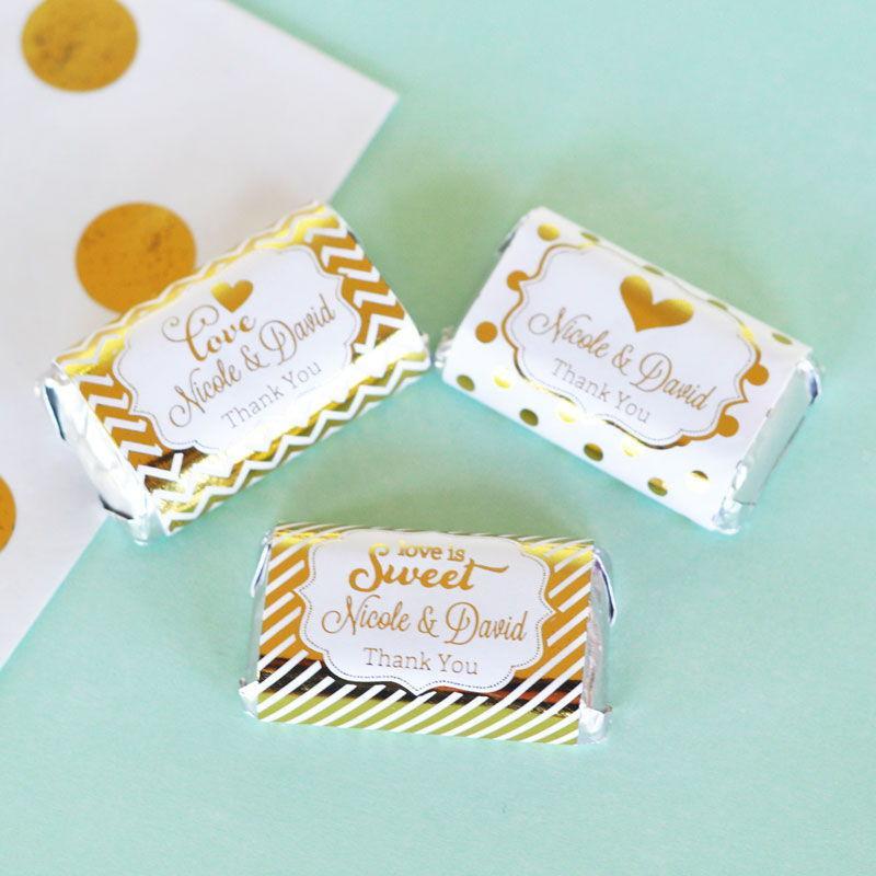 Свадьба - Personalized Metallic Foil Mini Candy Bar Wrappers - Wedding