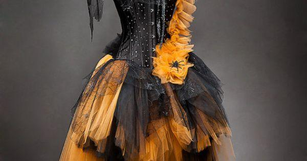 Hochzeit - Custom Size Orange And Black Feather Burlesque Corset Witch Costume With Hat Available In Sizes Small Through 6xl