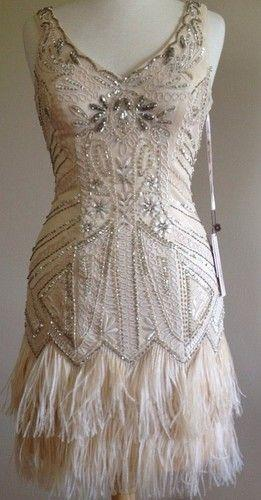 Mariage - NEW! SUE WONG 1920's Gatsby Deco Champagne Beaded Feather Bridal Flapper Dress 6