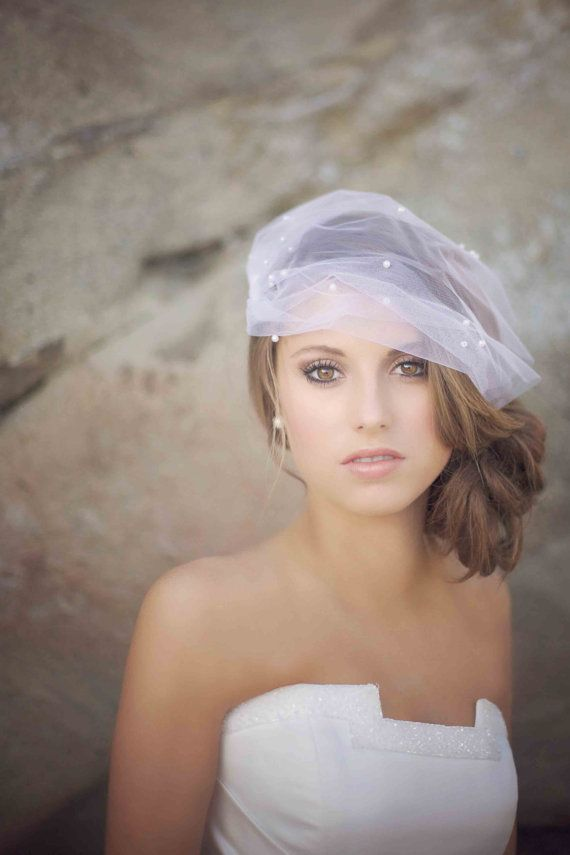 Wedding - Birdcage Style Veil With Pearls