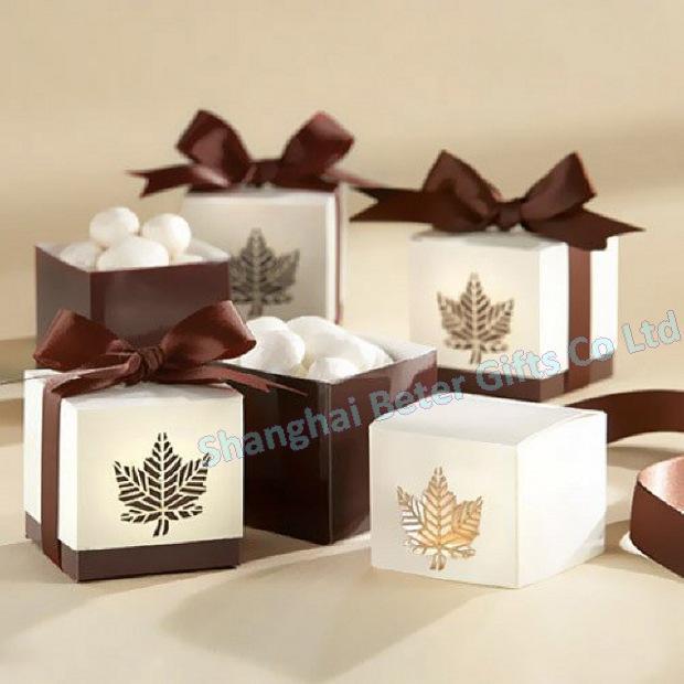 Boda - 12pcs Brown Leaf Favor Box Quality Party Decoration TH012