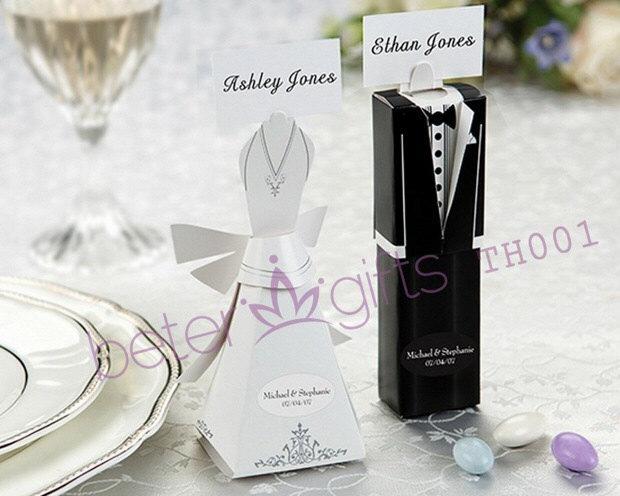 زفاف - 24pcs=12pair Bride and Groom Favor Boxes, Place cards TH001