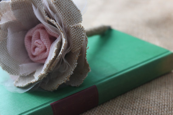 Hochzeit - Wedding Guest Book Pen- Rustic Vintage Wedding Pen- Burlap flower wedding pen