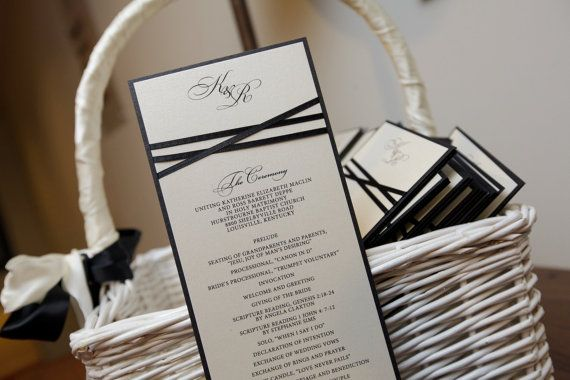 100 Wedding Programs, Classic Ribbon Detail, Ceremony Programs ...