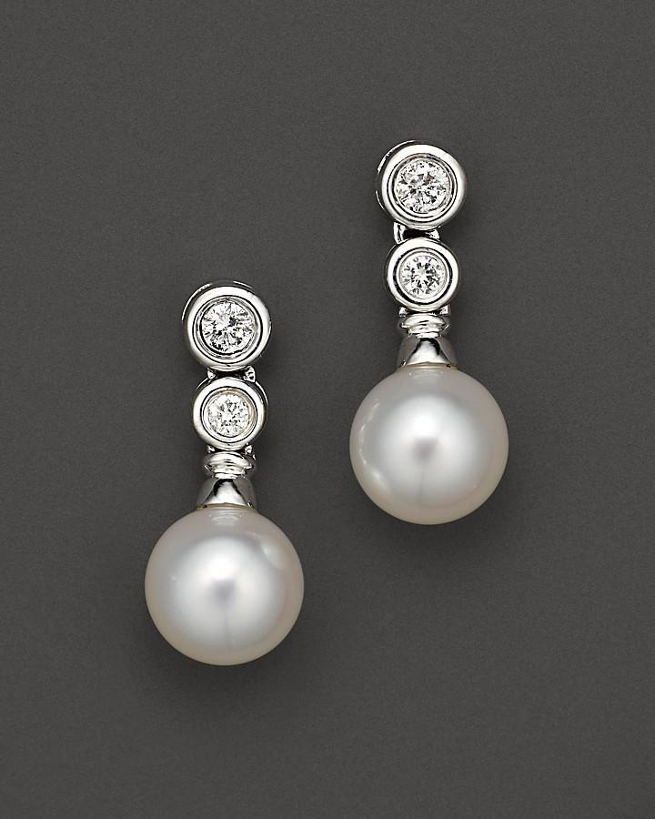 Cultured Pearl Drop Earrings With Diamonds 7 5 Mm