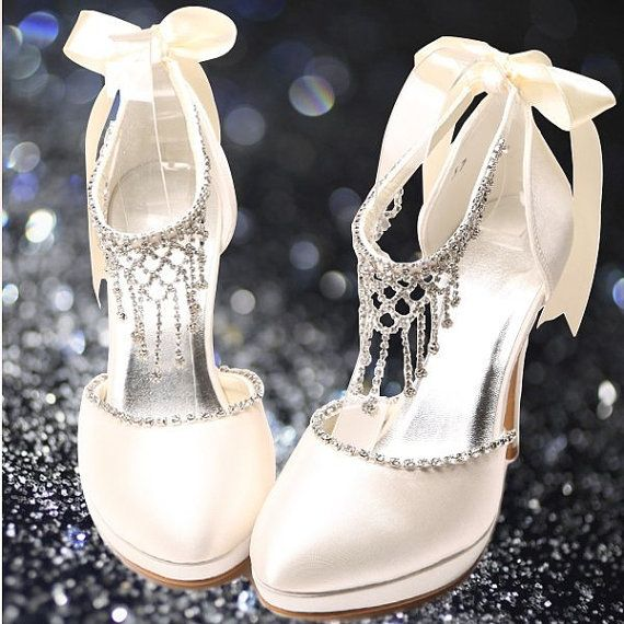Wedding - Wedding Shoes Or Prom Shoes White Or Ivory Gorgeous With Crystals And Satin Bow