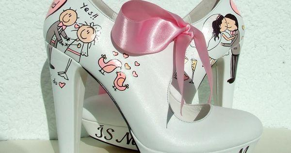 Customized Wedding Shoes With Pink Ribbons Handpainted Personalized Bridal