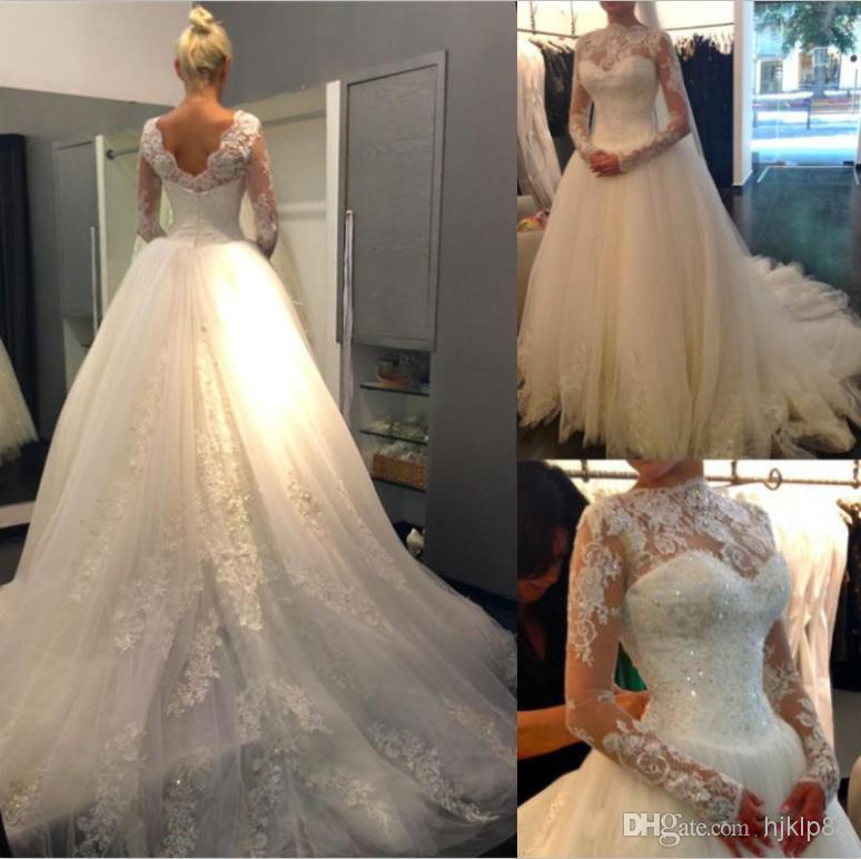 2014 high neck lace long sleeves beaded ball gown elegant for Lace long sleeve backless wedding dress