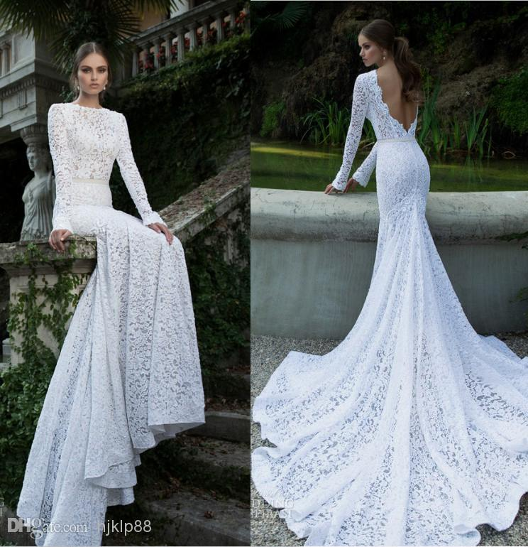 3db36f04d4f6 White Vintage Lace Bateau Ribbon Backless Mermaid Berta Bridal Winter Long  Sleeve Wedding Dresses Wedding Gowns Pretty Bridal Wedding Dress, $140.99