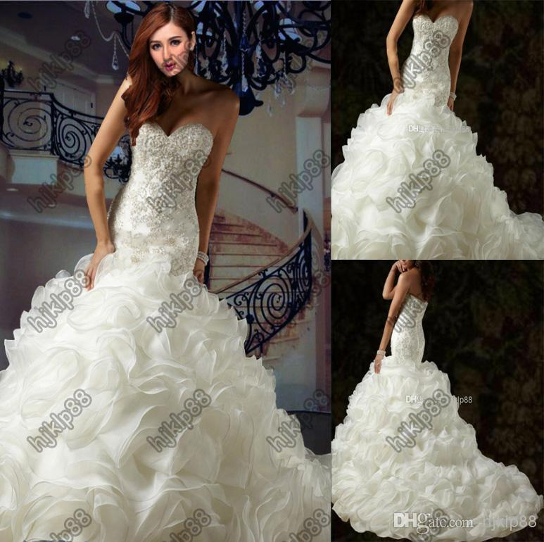 Wedding - Luxury Wedding Dresses New Sexy Sweetheart Strapless Applique Beading Ivory/White Ruffles Organza Wedding Dress Chapel Train Bride Gowns, $120.14