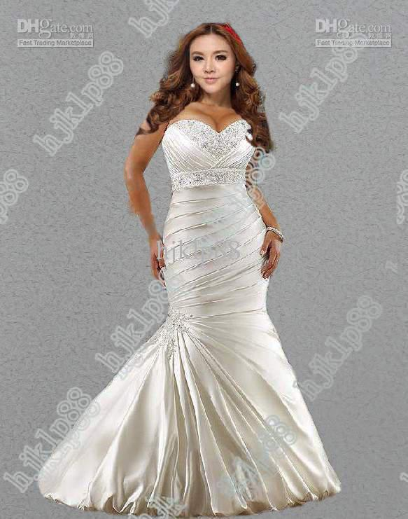 Wedding - Hot Sale! New Sexy Mermaid Sweetheart Plus Size Wedding Dresses Satin Embroidery Wedding Dress Actua Online with $94.25/Piece on Hjklp88's Store