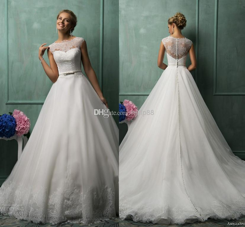 Mariage - AmeliaSposa 2014 Collection Wedding Dresses Illusion Jewel Neck And Backless Button Wedding Dress Tulle/Applique A-line Ruffles Bridal Gowns, $123.75