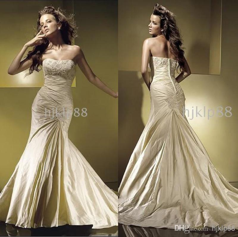Mermaid Wedding Dresses Pleated : Best selling unique design glamorous new applique