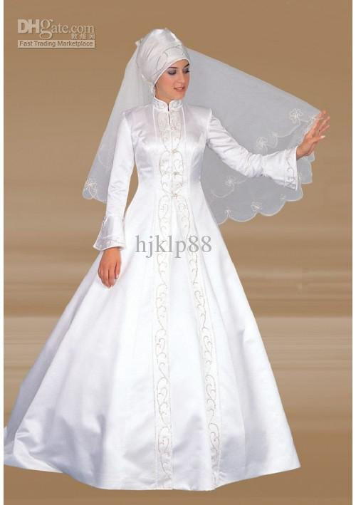 Mariage - New Beautiful A-line Floor Length High-Neck Long Sleeve Dress Embroidery White Satin Church Muslim Wedding Dresses Online with $104.82/Piece on Hjklp88's Store