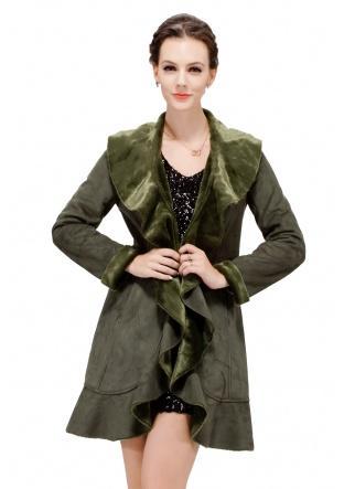 Wedding - Dark Green Faux Mink Fur Suede Middle Coat