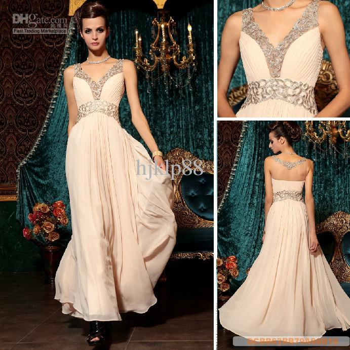 e1e5430b7fdf Pretty New V-Neck Embroidery Beaded Floor-length Chiffon Evening Dresses  Party Dresses Online with  88.7 Piece on Hjklp88 s Store