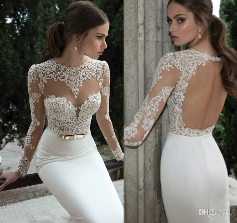 9af288a1f05 Sexy Illusion Jewel Neck Applique Backless Berta Bridal Long Sleeve Sheath Wedding  Dresses Floor-Length Bridal Gowns Open Back Wedding Dress Online with ...