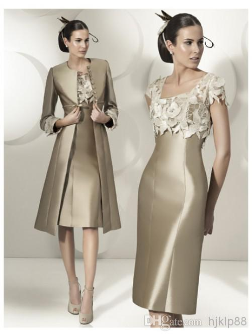 2014 Hot Sale Elegant Sheath Party Dress Lace Satin Mother Of The ...