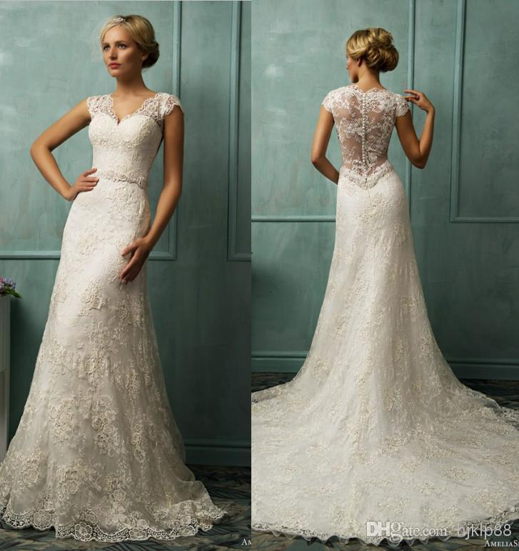2014 New Sexy V Neck Lace Applique A Line Illusion Wedding