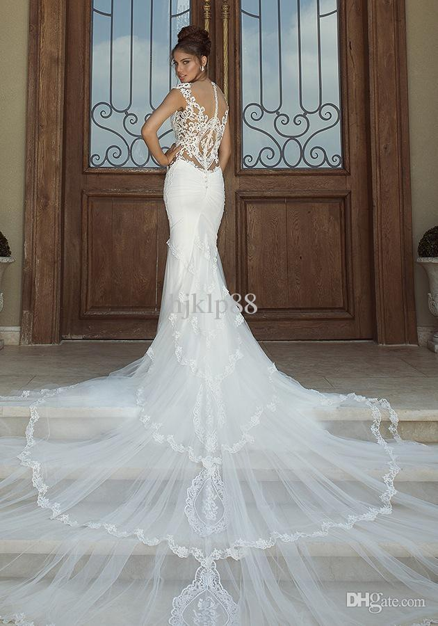 2014 hot new sexy mermaid embroidery applique galia lahav for Lace white wedding dress