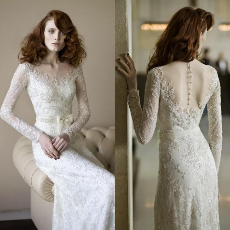 Vintage Long Sleeve Wedding Dresses Lace Sash Illusion Sheer ...
