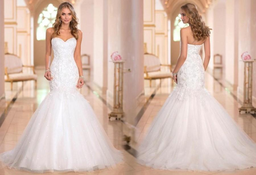 Wedding - New Arrival Sweetheart Tull Applique 2015 Wedding Dresses Beads Pearls Chapel Train Wedding Dress Bridal Gown Lace Up, $141.37