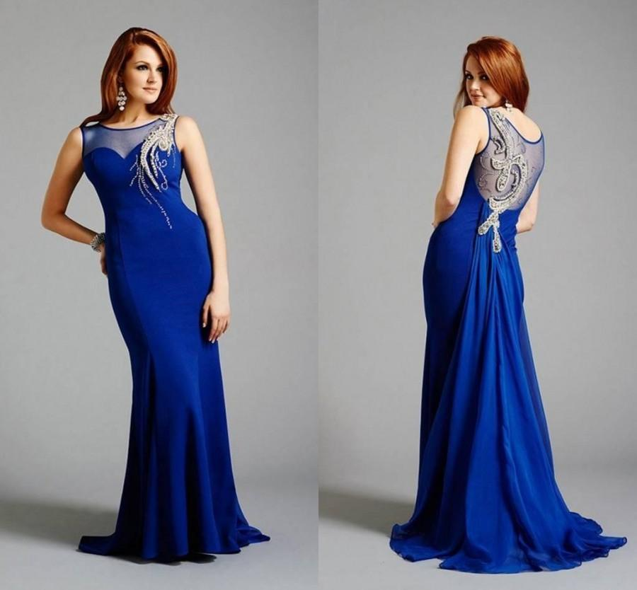 Custom Made 2015 Illusion Neckline Blue Crystal Evening Dresses ...