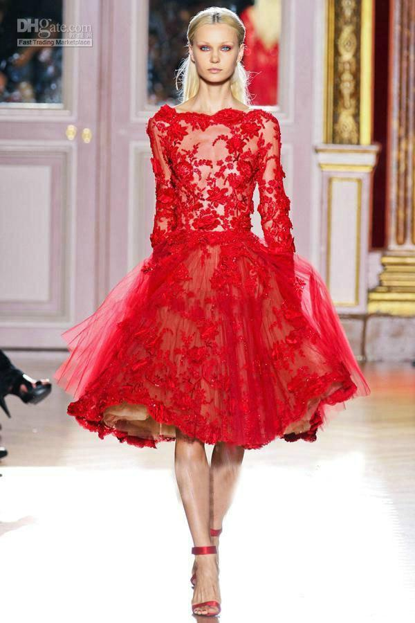 Wedding - Best Selling Zuhair Murad Cocktail Dresses Lace Applique Red Beautiful Long Sleeves Knee Lace Short Short Prom Dress, $92.73