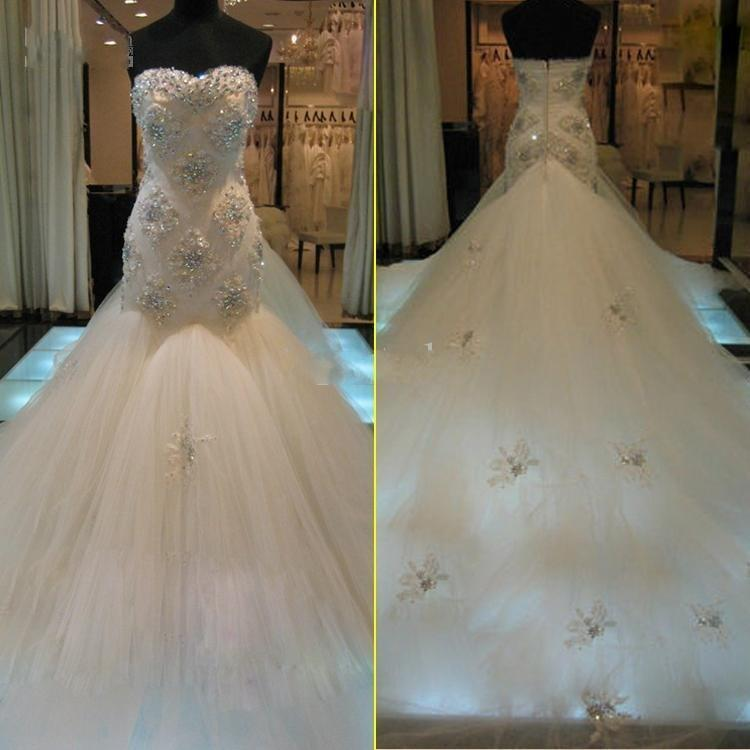 Real image mermaid 2015 wedding dresses sweetheart luxury for Beaded lace mermaid wedding dress