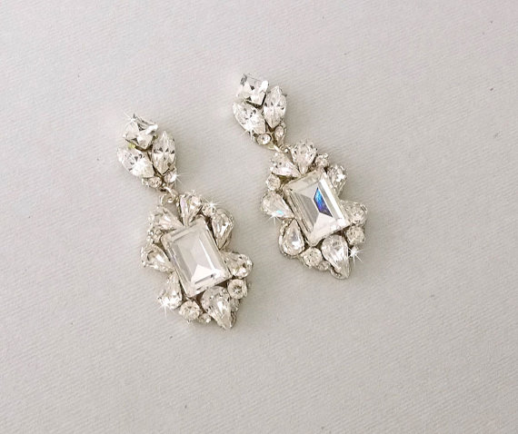 Hochzeit - Wedding Earrings - Chandelier Earrings, Gatsby Earrings, Vintage Style, Swarovski Crystals, Art Deco Style, Bridal Earrings - BRIGETTA