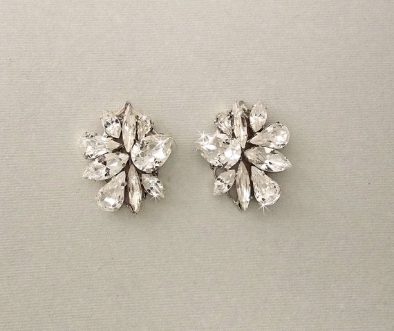 Wedding Earrings Bridal Cer Post Crystal Gatsby Vintage Style Jewelry Dawn