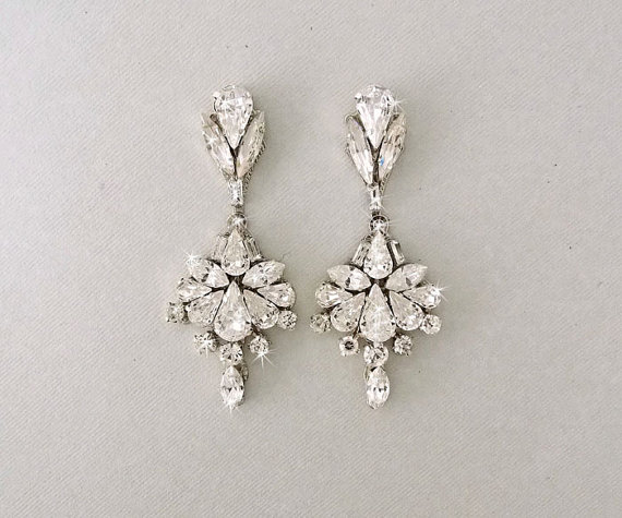 Wedding Earrings Chandelier Bridal Vintage Crystal Swarovski Crystals Jewelry Scarlette