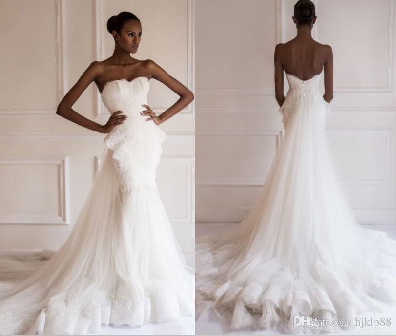 2015 new arrival beautiful designer yasmine yeya wedding dresses lacetulle strapless bridal gowns detachable wedding dress 14686