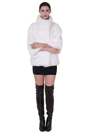 Wedding - Women white classic fox fur short women coat
