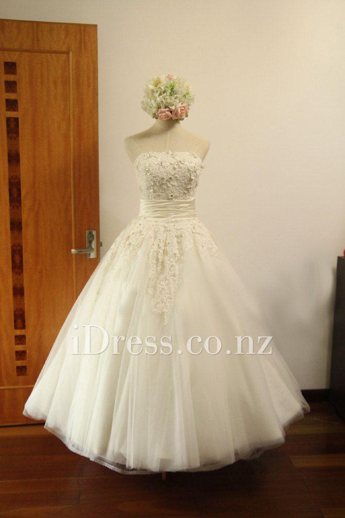 Wedding - Classical Full A-line Floral Lace Top Tea Length Wedding Dress