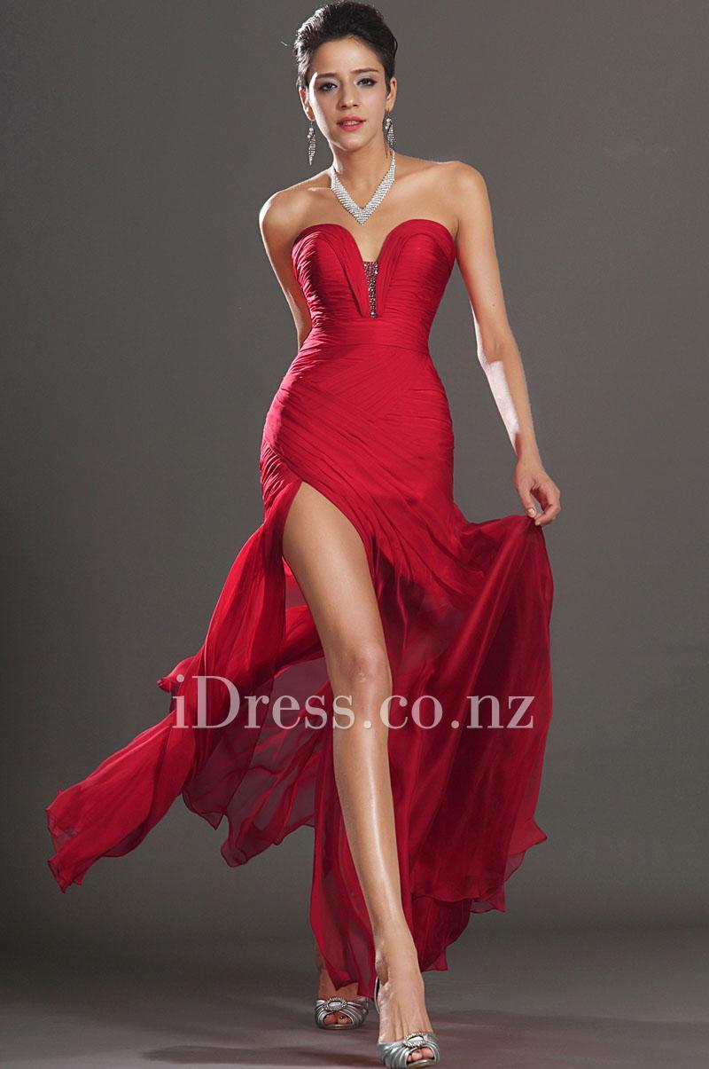 Свадьба - Red Strapless Sweetheart Neck Beaded Slit Ruched Prom Dress