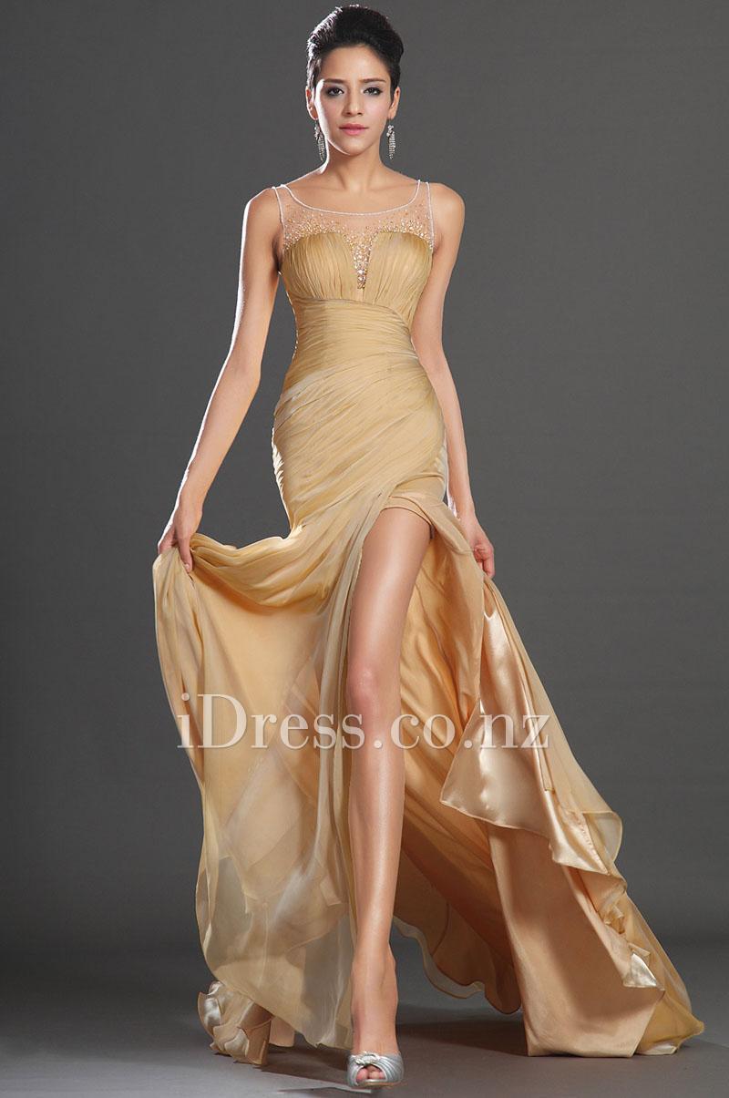 Hochzeit - Gold Illusion Batuau Neck Bodycon Chiffon Evening Dress