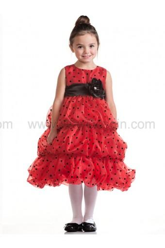 Свадьба - Red Bubble Layered Organza Dress Black Polka Dots
