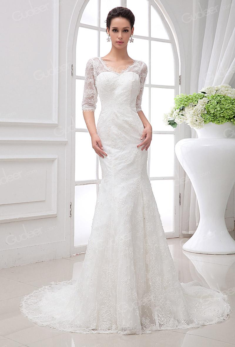 Sheer Lace Half Sleeves V-neck Sweetheart Mermaid Wedding Dress ...
