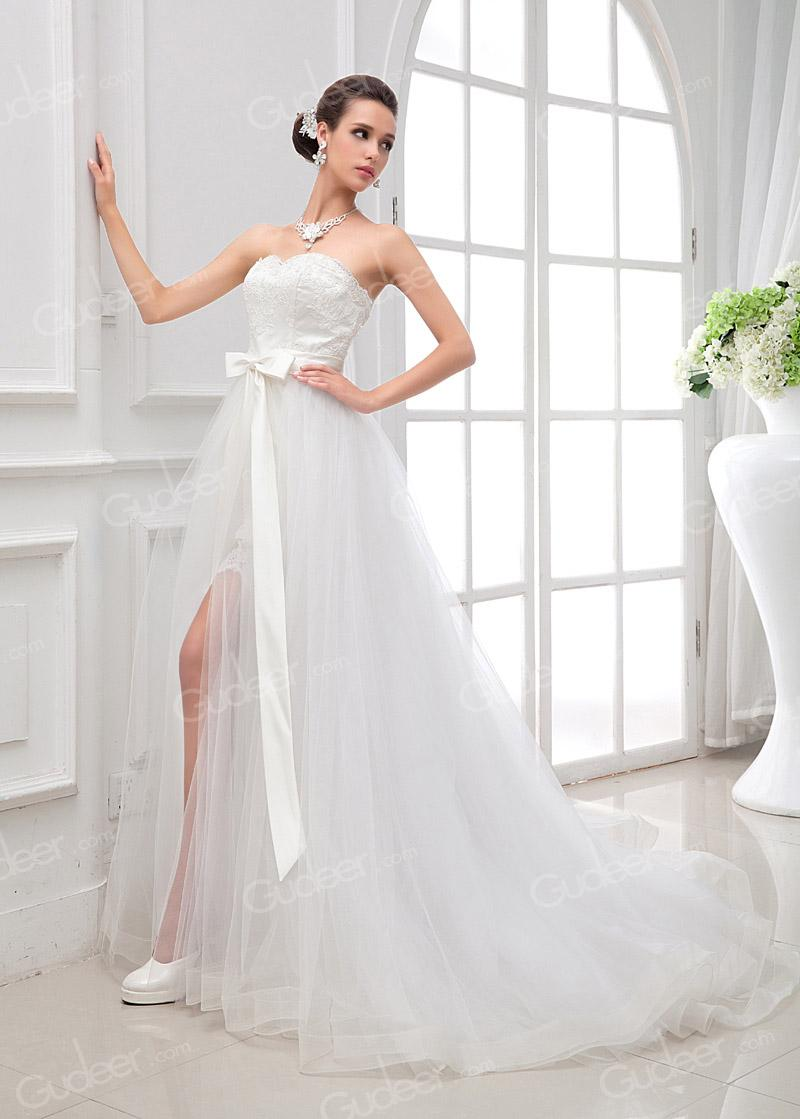 Mariage - Two Pieces Scalloped Strapless High-low Flare-flowing Princess Bridal Dress