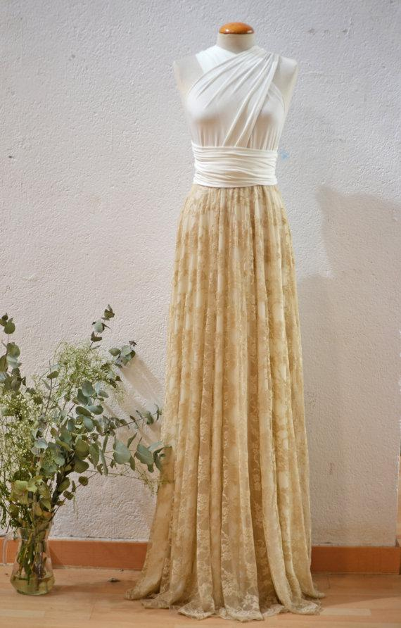 Свадьба - Romantic Lace Wedding Dress, White Dress Golden Lace, Romantic vintage inspired Bridal Gown, Romantic Dress made to measure choose colors