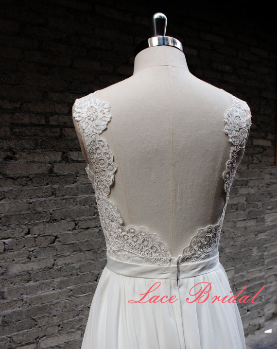 Свадьба - Backless Wedding Dress, Sexy Wedding Dress, Lace Chiffon Wedding Bridal Dress with Waistband