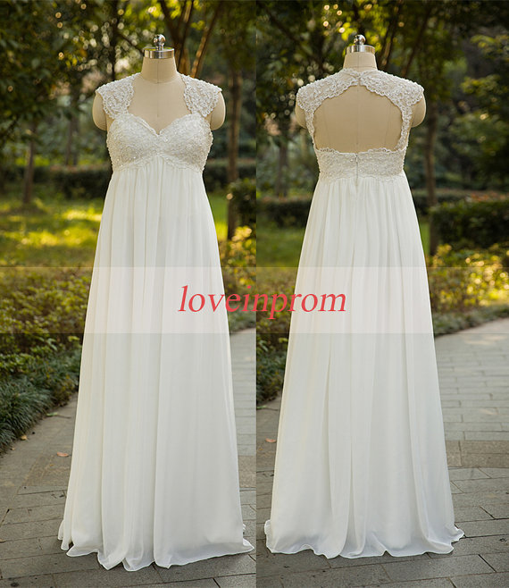 Wedding - Cap sleeve wedding dress,white/ivory wedding dress,handmade chiffon lace long wedding dresses,wedding gowns,bridal dresses