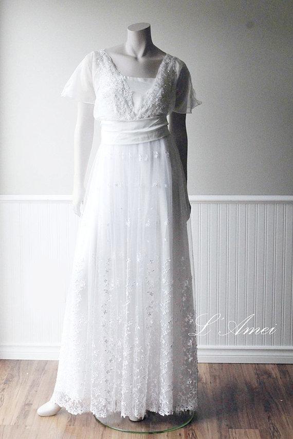 Handmade hand beaded lace wedding dress boho wedding for Hand beaded wedding dresses